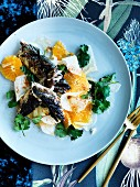 Mackerel with orange and jicama salad