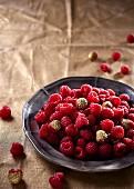 Raspberries on a tin plate