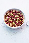 Raspberry clafoutis with pistachios
