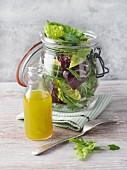 Lettuce with a basic vinaigrette