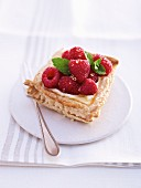 Puff pastry tart with raspberries