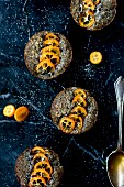 Kumquat and black sesame cakes