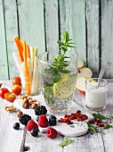 Chia Fresca and fresh, healthy snacks