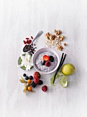 Chia pudding with topping ingredients