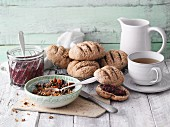 Breakfast with spelt rolls, chia jam and granola