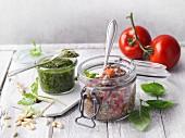 Tomato chia salsa and coriander chia pesto