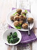 Quinoa and chia balls with spinach
