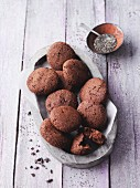 Chocolate and almond cookies with chia seeds