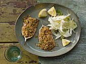 Sardines with herb crusts and fennel