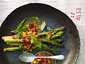 Grilled asparagus with an orange and pistachio salsa