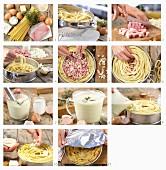 Schinken-Nudeltorte mit Gorgonzola und Bröselkruste zubereiten
