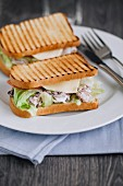 Close up of two tuna sandwiches on plate