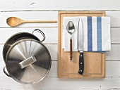 Kitchen utensils for a potato dish