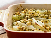 Baked kohlrabi with herb breadcrumbs