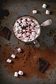 Glass cup of Hot chocolate with melting marshmallows, vintage silver spoon and cocoa powder
