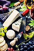 Käseplatte mit verschiedenen Käsesorten, Wein und Trauben