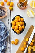 Kumquats, lemon, lavender and honey cooking ingredients