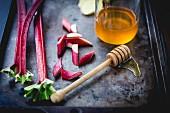 Rhubarb and honey cooking ingredients