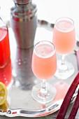 Rhabarber-Cocktail mit Cocktailshaker auf Silbertablett