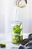 Green sangria with melon, cucumber, basil, mint, grapes and lime drink