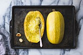 Spaghetti Squash on a baking tray