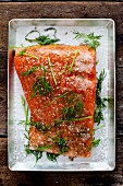 Spicy salmon fillet with fresh dill