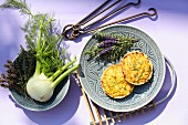 Fennel quiche with lavender blossoms