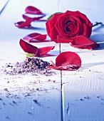 Rose salt with a rose and rose petals