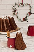 A Bundt cake and a cup of hot chocolate