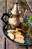 Peppermint tea in jars and a jug (Morocco)