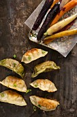 A variety of pot stickers on a rustic metal surface with rainbow carrots