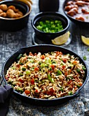 Vegetable Fried Rice with Soyabean Manchurian (An Indo Chinese Cuisine)