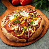 Rustic vegetarian Pizza with tomatoes, olives, yellow peppers, red onion, mozzarella