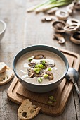 Cream of mushroom soup with spring onions