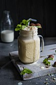 Milkshake with mint chocolate and fresh mint
