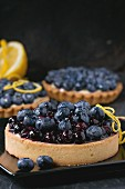 Lemon Tart and tartlets with fresh and cooked blueberries, served on black square plate with lemon and lemon zest