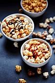 Three bowls of popcorn