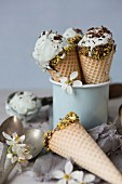Mint Choc Ice Cream in Cones in a Cup