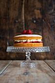 Victoria Sponge Cake on Cake Stand