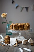 Walnut and Coffee Mini Cakes on Cake Stand
