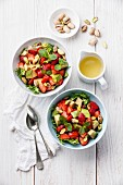 Lettuce salad with avocado and strawberry