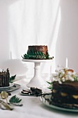 Chocolate cake on white table