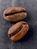 Coffee beans on a grey background