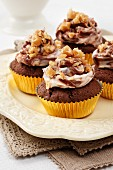 Several Peanut butter and chocolate cupcakes with chocolate and cream cheese topping and peanut brittle chips