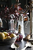 Detail of silver and glassware on the dining table