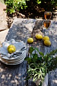 Lemons, pile of plates and serviettes and glasses of white wine on rustic wooden table