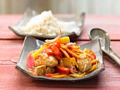 Sweet and sour turkey with vegetables