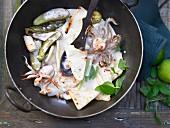 Pan fried calamari with baby aubergines