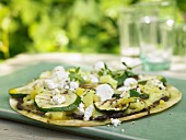 Grilled tortillas with vegetables and feta