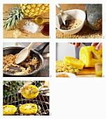 Grill-Ananas mit Piment, Kokos und Ahornsirup zubereiten